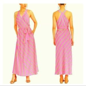 New Rachel Roy Jacey neon pink striped maxi dress